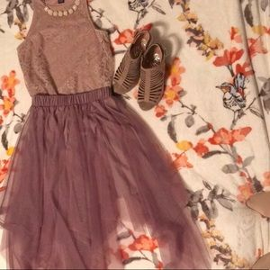 Lavender and tulle top and skirt